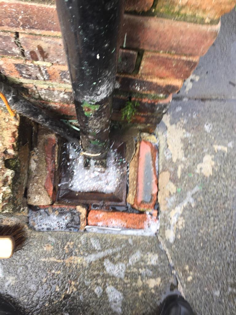 Badly blocked drain that required jetting.