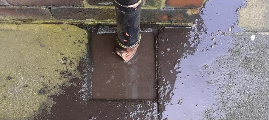 Blocked drain pipe