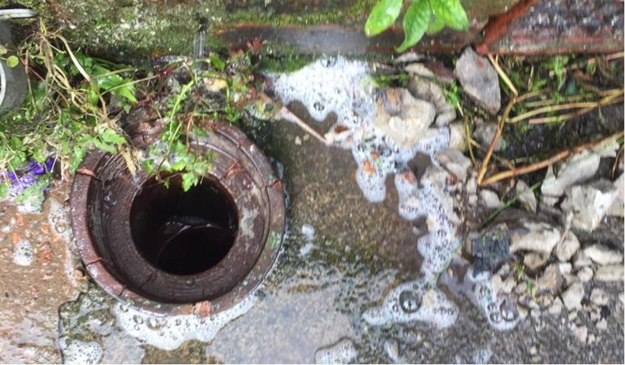 Drain that has been unblocked using jetting
