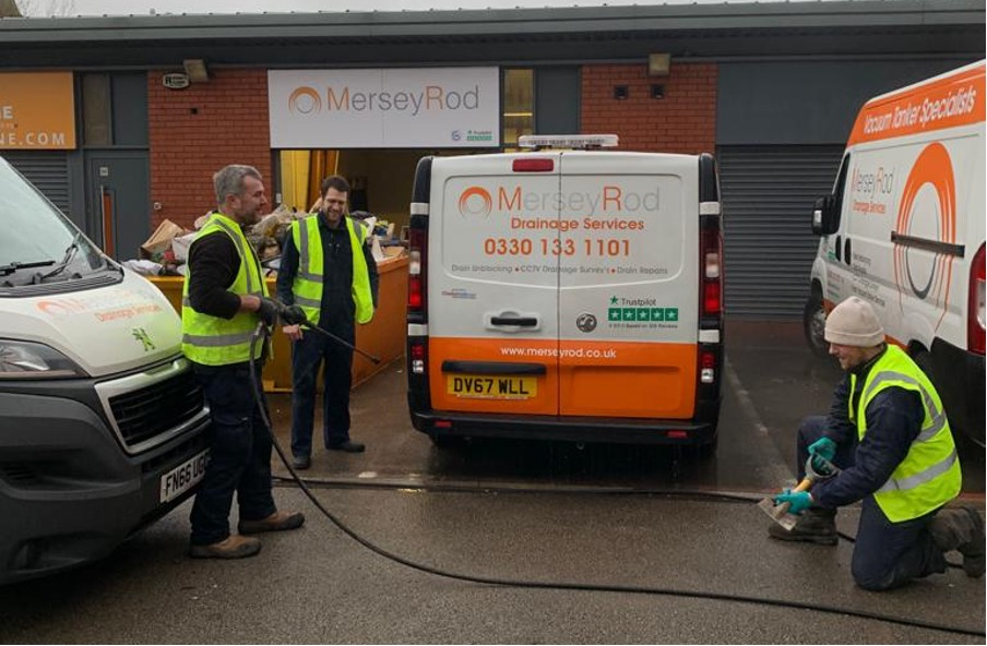 Mersey Rod office, image of the team cleaning the vans